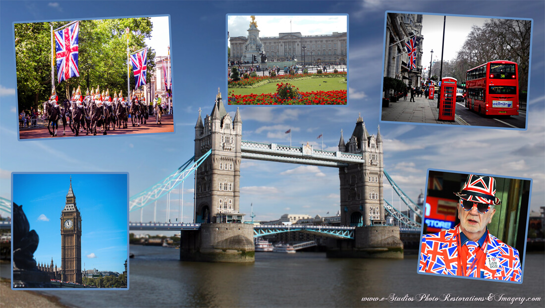 Photo Montage capturing highlights of a great UK vacation.