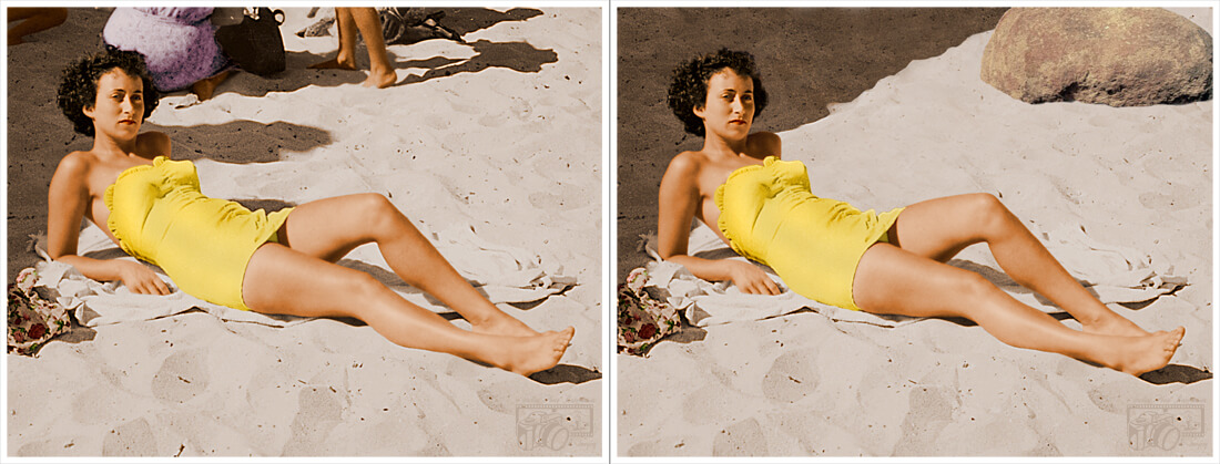 Example of photos of a lady sunbathing on a beach, displaying before and after pictures of the completed object manipulation where people and objects in the background of the image have been removed and replaced with a different background.