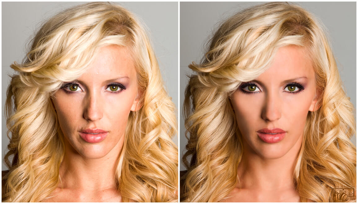 Example of an image of a female Model with imperfect skin and makeup, displaying before and after pictures of the Post Process photo retouching, editing and manipulation. Photo retouched, enhanced and converted into a Glamour image.