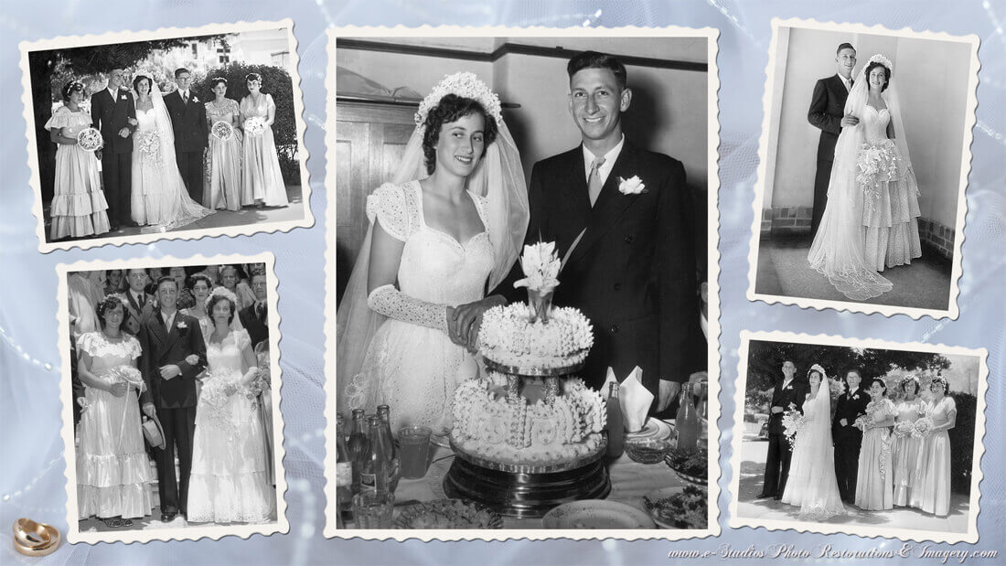 Example of a Photo Montage of edited and restored black and white Wedding Day photos placed on a light colored background.