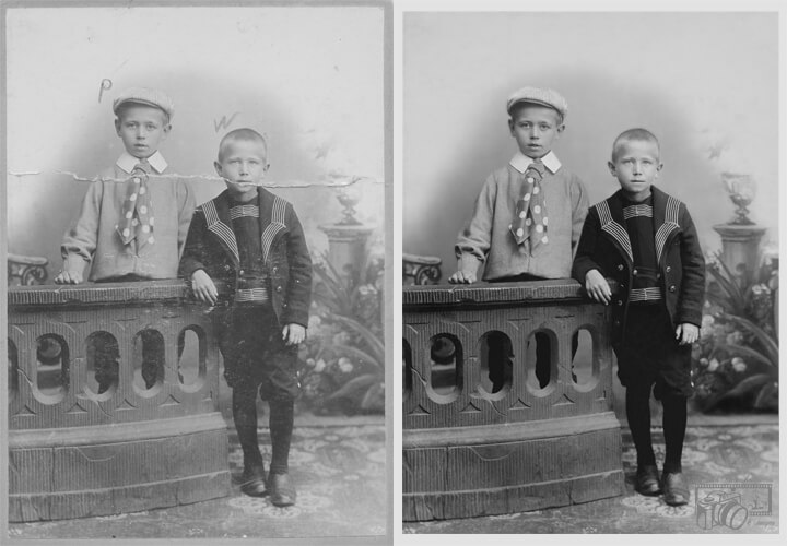 Example of images of two (2) boys from the early 1900's, displaying before and after pictures of the completed reconstruction of details within the original photo.