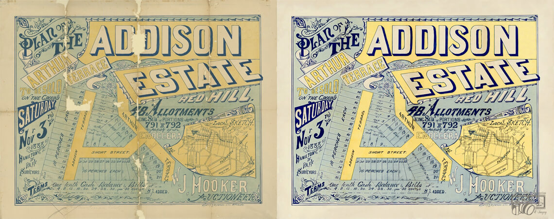 Example of a hand-drawn Real Estate Poster / Document dated 1888, displaying before and after images of the completed restoration, realignment and retouching of the original.
