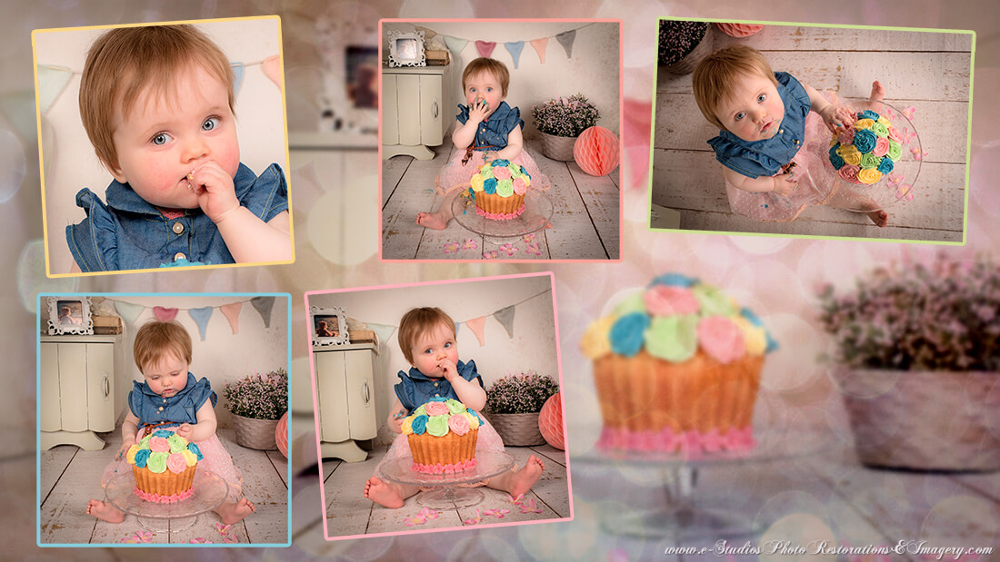 Example of a Photo Montage of edited photos showing a female baby celebrating her Birthday by enjoying her Birthday cake. Photos strategically placed on a light colored background.