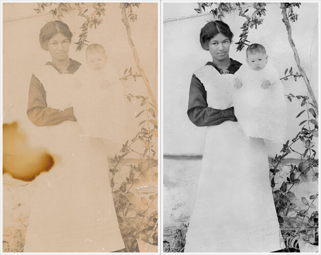 Example of images of a Nanny holding a baby in her arms, displaying before and after pictures of the completed reconstruction of details within the original photo.