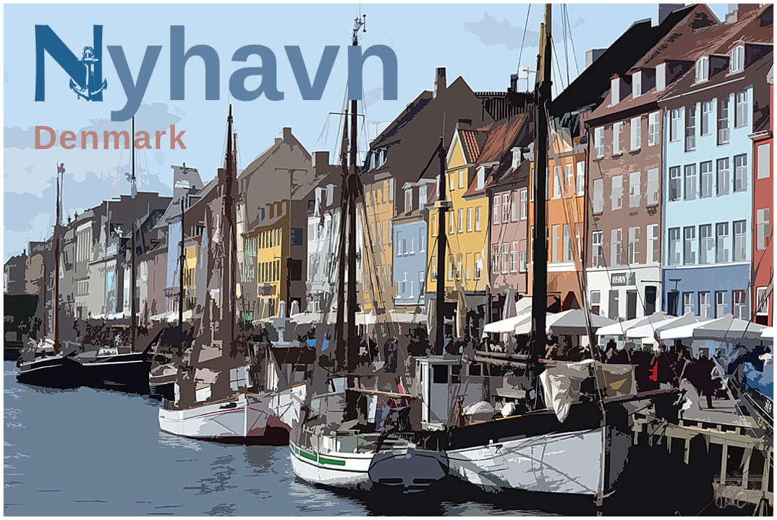 Wall Art / Travel Poster depicting a holiday memory of Nyhavn, a historic old Harbor in Copenhagen, Denmark.