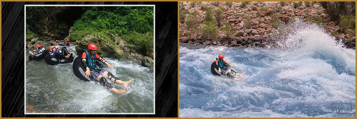 Photos of male white-water rafter on calm waters, transformed to show white-water rafter now rafting down a chaotic, dangerous looking, turbulent river.