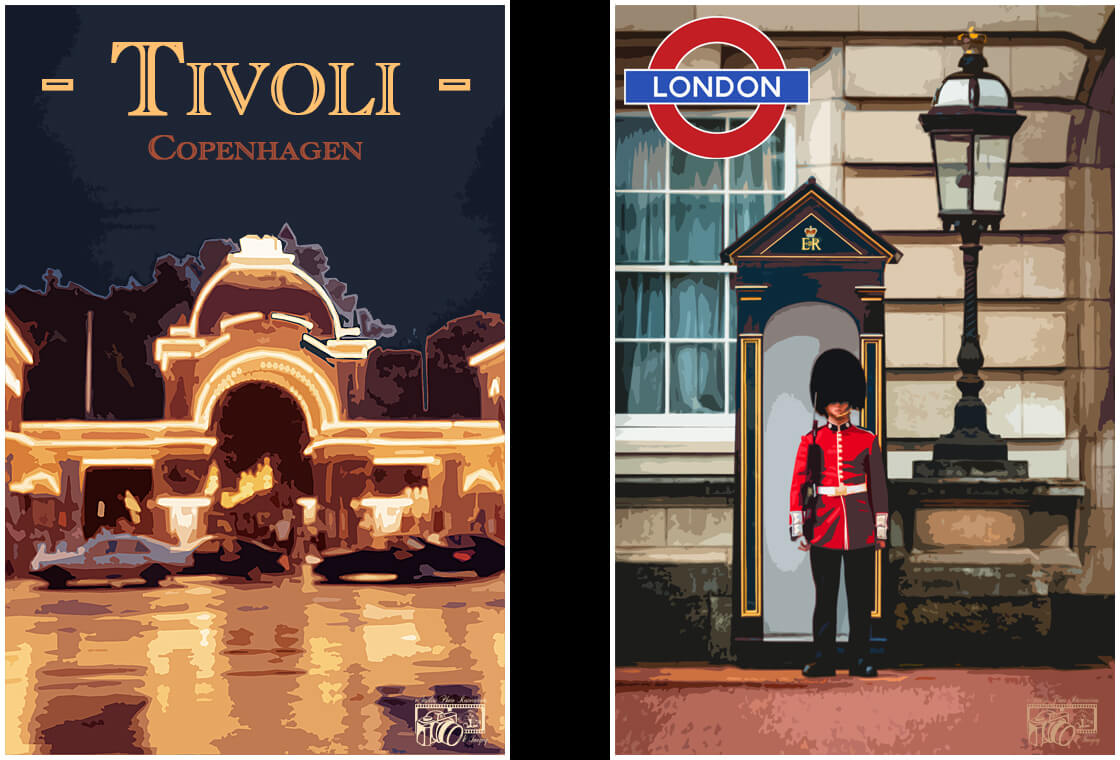 Two Wall Art / Travel Posters.  One depicting an image of Tivoli Amusement Park in Copenhagen, Denmark. The other depicting an image of the Queen's Guard, Buckingham Palace, London, United Kingdom.