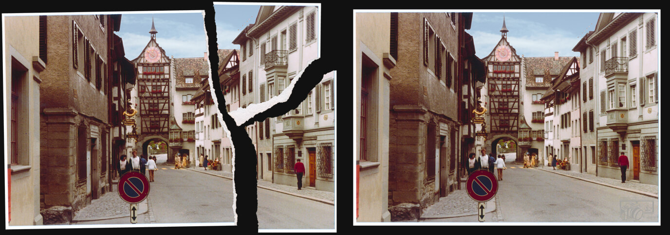 Example of a torn holiday photo taken in a city, displaying before and after pictures of the completed restoration and photo stitching of the picture.